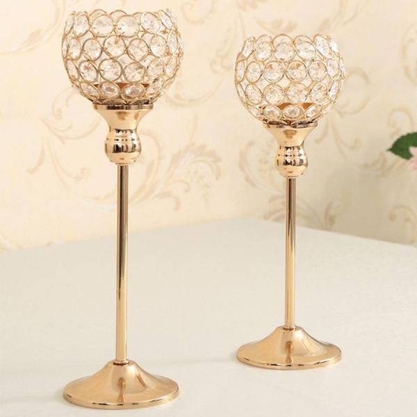 2pcs/set 30cm 35cm Wedding Decorations Crystal Candle Holders Morocco  Candle Lantern Metal Candlestick Gold Centerpieces Candelabra (Color: Gold)