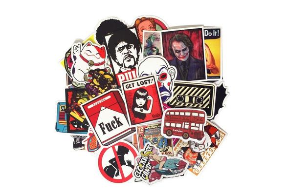 Mixed 50-200 pcs Stickers Skateboard Snowboard Vintage Vinyl Sticker Graffiti Laptop Luggage Car Bike Bicycle Decals