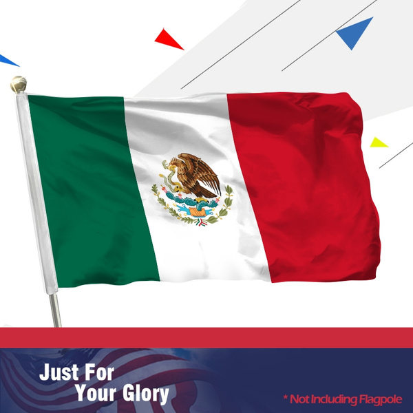 MOFAN Mexico Flag Polyester Nicely Stitched and Vivid Bright Color Mexican  Flag Mexicum National Flag Banner Holiday Procession Flags 3 X 5 Ft