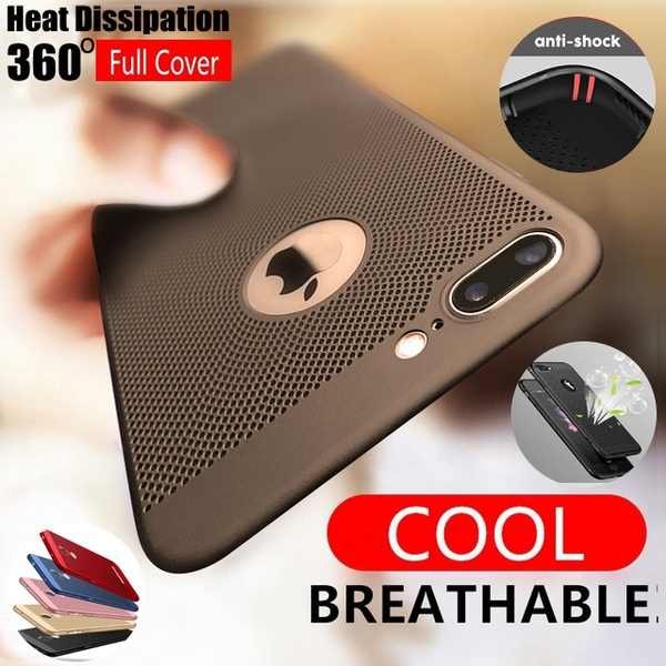 finest selection 1c07e 17ccf 5 Colors Case For iPhone X iPhone 7 6 6S Plus Cooling Hollow Cases Heat  dissipation Breathable Phone Cover For iPhone 5 5s SE