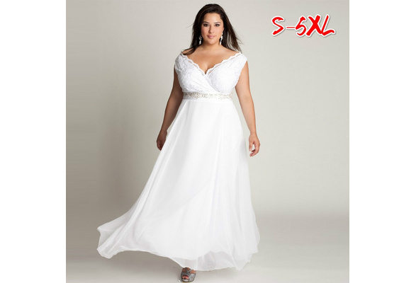 White Wedding Dress V-neck Cap Sleeve Maxi Party Dress Elegant Lace Women Dress Plus Size WZB9458