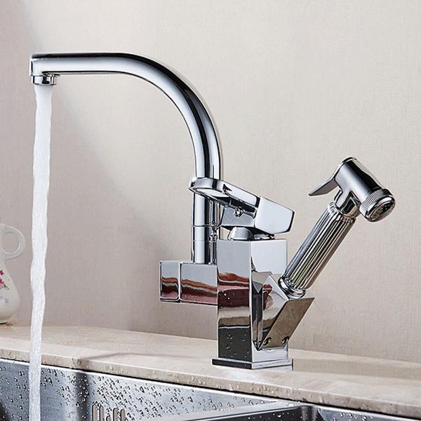 Wish | Bright Chrome Swivel Spout Kitchen Sink Faucet Deck Install ...