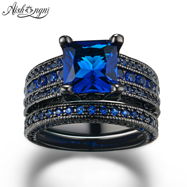 Womens jewelry wedding blue crystal Black stainless steel Ring size 6 7 8 9