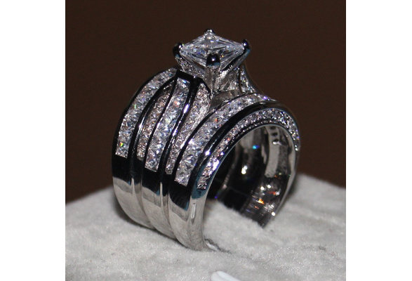 2016 Women Fashion jewelry 3-in-1 Engagement Wedding band Ring Set Princess cut 10ct Cz Diamond ring 14KT White Gold Filled Party Finger ring