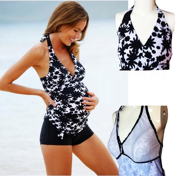 c005dc2c43a8b Pregnant Swimwear Print Maternity Tankini Sets Halter Swimsuit Women ...