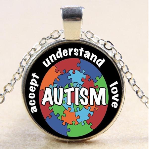 Autism Awareness Photo Cabochon Glass Silver//Black//Bronze Chain Pendant Necklace