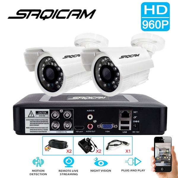 Saqicam 4CH 960P AHD Security CCTV System 1080N AHD DVR Kit 2PCS 1200TVL IR  Security Waterproof Outdoor Surveillance CCTV Camera