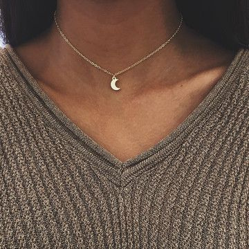 New Simple Cute Gold Silver Plated Moon Star Heart Necklace