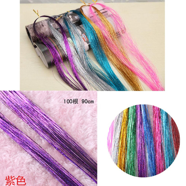 Wish Colorful Laser Fibre Clip In Hair Extension Metallic