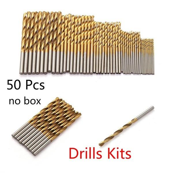 Mama | New High Speed Steel 50/10/13pcs Titanium Coated Drill Bit Set Hex Shank 1.5-6.5mm Wood Plastic Tool Set