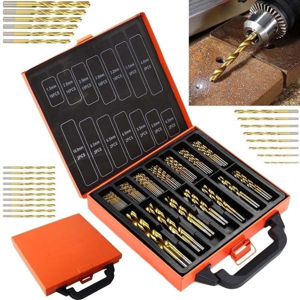 Geek | New High Speed Steel 50/10/13pcs Titanium Coated Drill Bit Set Hex Shank 1.5-6.5mm Wood Plastic Tool Set