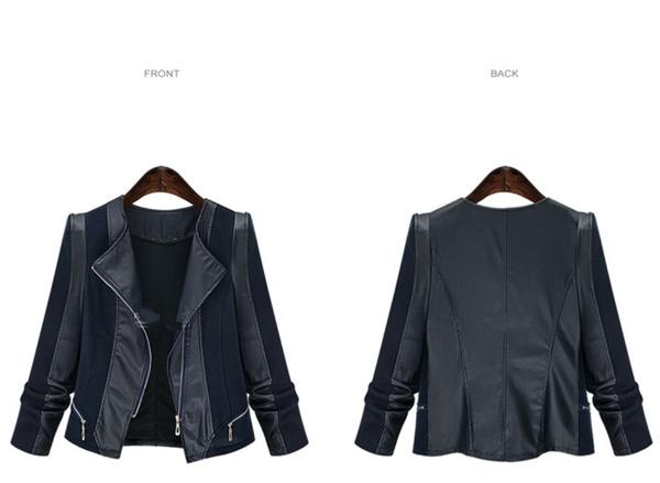 Damen Übergangs Kunstlederjacke Modische Pu 5xl Lederoptik Große Frauen Jacke Für Kurze Größe Lederjacke Biker Xl CBerodxW