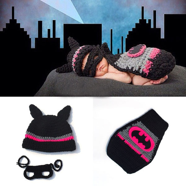 3f92ed9be Crochet Newborn Batgirl Hot Pink Batman Cap Set Baby Photography Props  Comic Superhero Infant Halloween Costume ZHH3563/h72