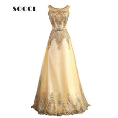 gowns, promdresseslong, Lace, gold