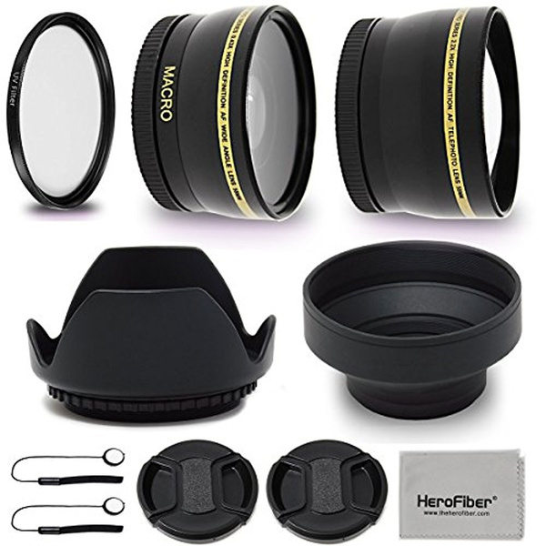 52mm Lens Accessories Kit with 52mm 2X Telephoto Lens Hood, 52mm Wide angle  Lens, Lens Hood + more for For 52mm Lenses and Cameras including Nikon