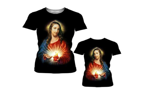 Men''s Black Classic Jesus Patterned T-shirt Cotton Sports Leisure Short Sleeve