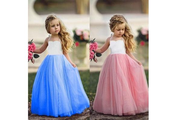 Girls Princess Party Wedding Bridesmaid Tutu Dress Children Photograph Dress