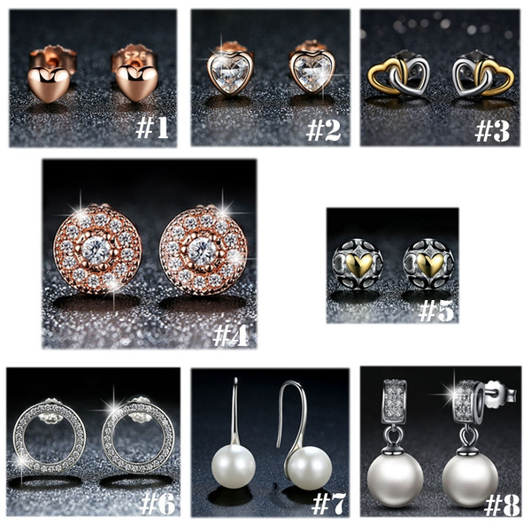 Round Pearl Ear Studs 925 Sterling Silver For Women and Girls
