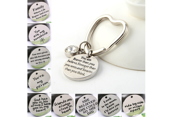 12 Kinds of Quote To Choose, 'You Are Braver Than You Believe, Stronger  Than You Seem, and Smarter Than You Think' Heart Shape Keyring & Titanium  Word