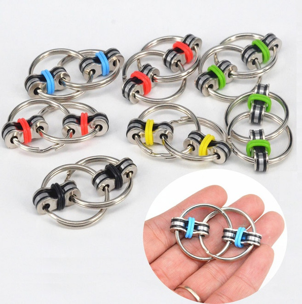 Key Ring Hand Spinner Fidget EDC Sensory Stress Relief Toy For Autism BE