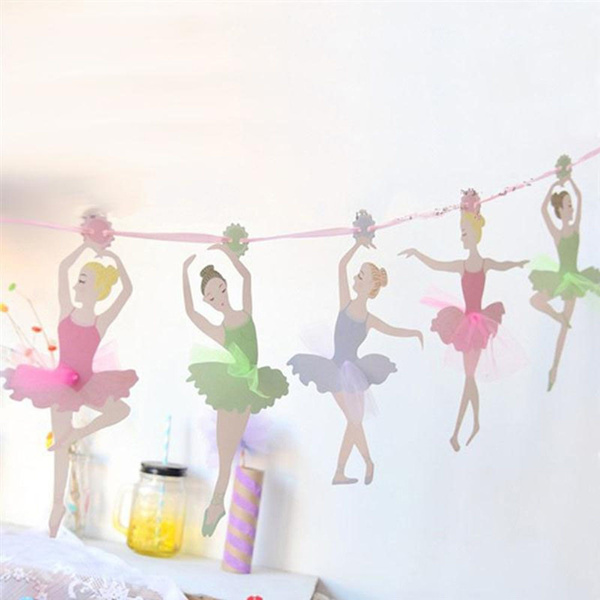 Decorations Supplies Wedding Decoration Bunting Flags Kids Ballet Girl  Ballerina Birthday Paper Flags Party Decoration