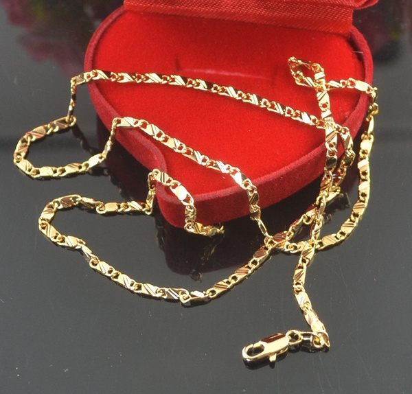 yellow gold, golden, Chain Necklace, 18k gold