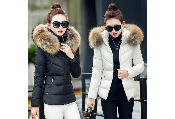 2018 Women's Down&Parkas Cotton Jackets Female Cotton-Padded Winter Hodded Coat Large Fur Collar Coat chaqueta plumifero mujer doudoune femme