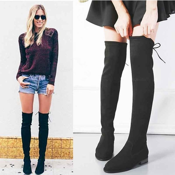 classic style various styles run shoes Women Stretch Faux Suede Slim Thigh High Boots Sexy Fashion Over ...