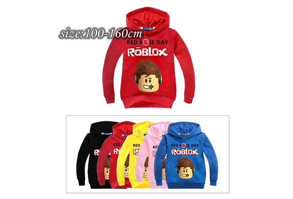 New Children 's Cartoon Cotton Sweater Spring And Autumn RED NOSE DAY ROBLOX Printing Sweater Pullover