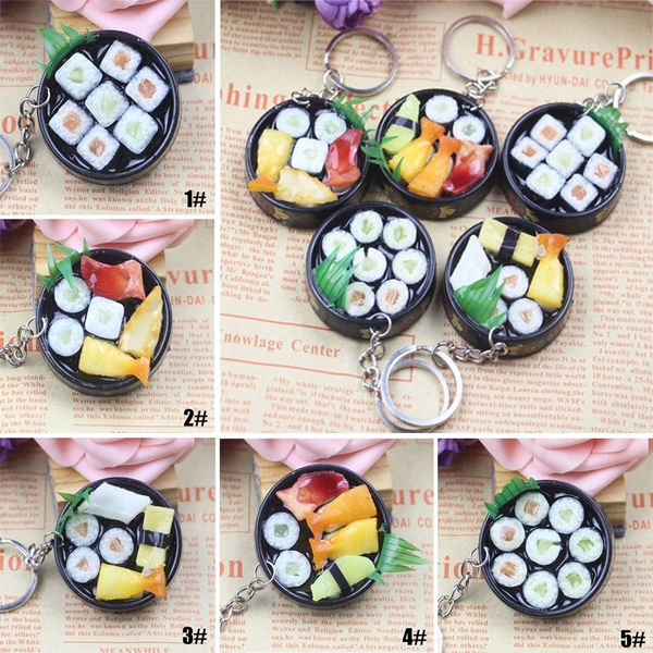 Baby Pretend Play Key Chain Keyring Japanese Box Simulation Sushi Plate Model