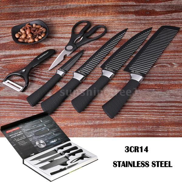 Everrich 6pcsset Kitchen Knife Set Professional Chef Knives Sharp Knives Kitchen Knife Fruit Knife With Storage Case Chefs Knives Set Boxed Knife
