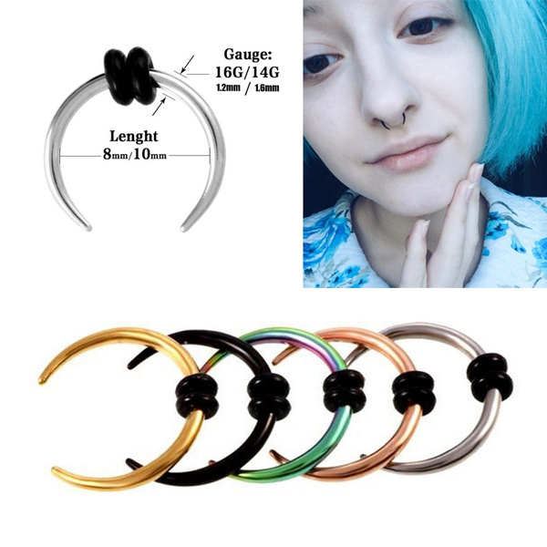 316l Surgical Steel Hoop Pincher Round Tapered Septum Nose Ring