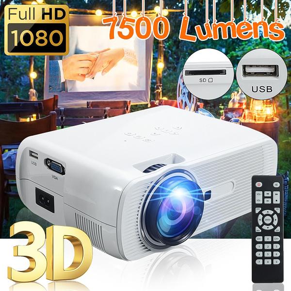 7000Lumens 1080P HD Multimedia LED Projector 3D Home Theater Cinema HDMI USB VGA