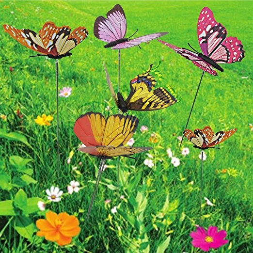 24 Pcs Butterfly Garden Ornaments,Ishua Butterfly Stakes Outdoor Patio  Decoration Butterfly Party Supplies Butterfly Decorations For Outdoor ...