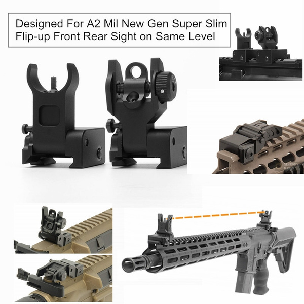 Flip Up Front Rear Iron Sight Set Rapid Transition For A2 Mil Spec Low  Profile BUIS