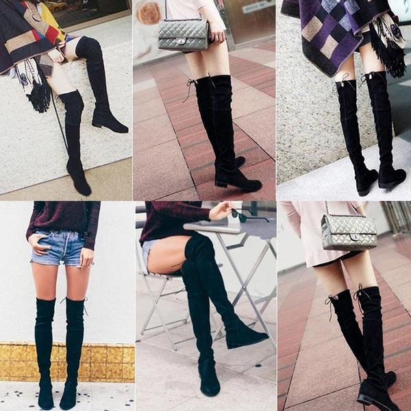 Platform Pu Overknee Round Thigh Korean Slim All Style Rubber Toe Match Flats Martin Boots Qrdsth