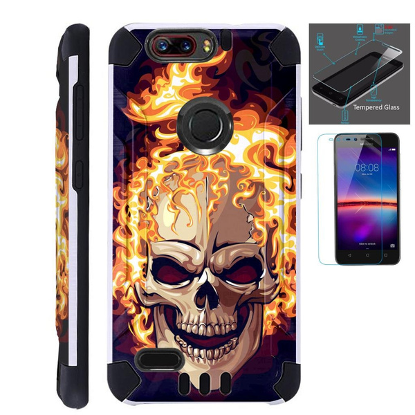 wholesale dealer 4586c 2a5b2 For ZTE Blade Z Max (Metro PCS) / ZTE ZMax Pro 2 / ZTE Grand X Max 4 / ZTE  Sequoia Case + Tempered Glass Slim Dual Layer Brushed Texture Hybrid TPU ...