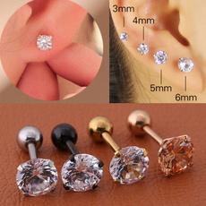 rhinestonestudearing, titanium steel, Jewelry, Stud Earring