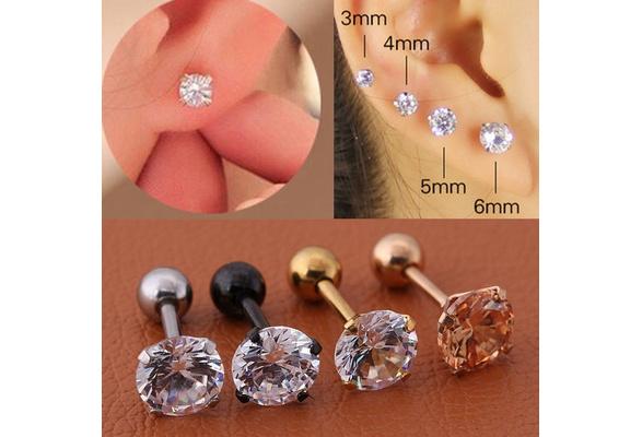 b974b7362ada6 2 Pcs/Set Titanium Zircon Earrings Diamond stud earrings women Fashion bone  ear studs set 3mm,4mm,5mm,6mm