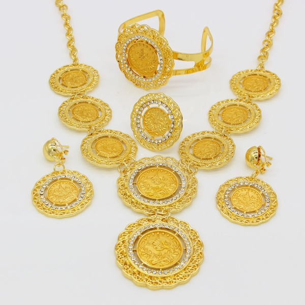 Wish Arabic Coins Jewelry Sets For Women 24k Gold Plated Turkey