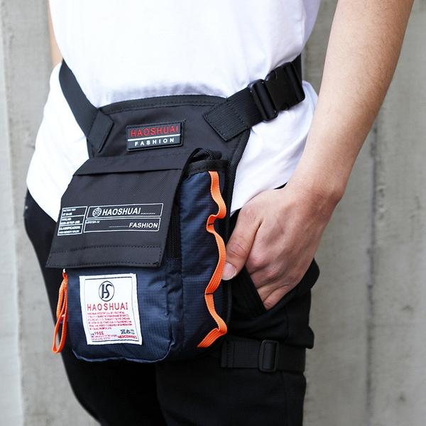 Brand Haoshuai Hot Waist Bag Waterproof Nylon Travel Men Black Drop Leg Motorcycle Pack Belt