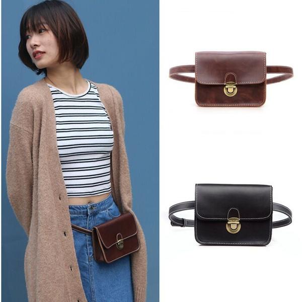 02abb9f3b6a Vintage Ladies Waist Pack Retro Women Mini Leather Fanny Pack Waist Purse  Bag Black Brown Small Pocket Wallet Belt Bag