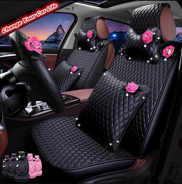 12pcs Full Set Girls Cute Pu Leather Car Seat Cover Pink Flower