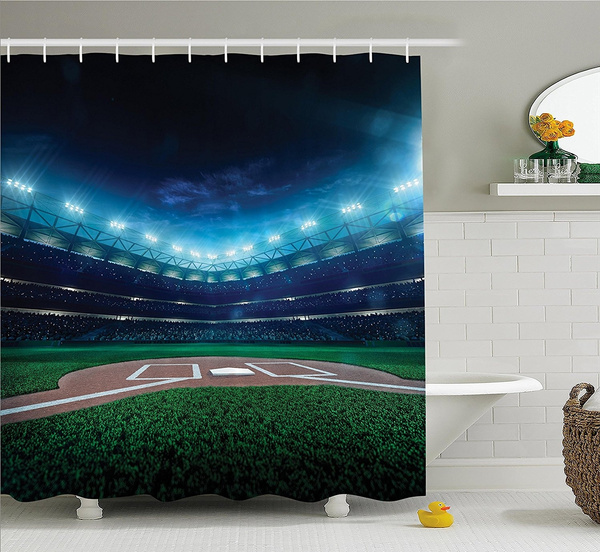 Sports Decor Shower Curtain Set By Professional Baseball Field At Night With Spotlights Playground Stadium League Theme Bathroom Accessories