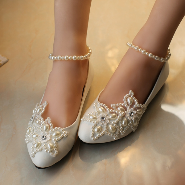 2018 White Five Pointed Star Pearl Rhinestone Beaded Anklet Kids Wedding Shoes Children Flats Girls Princess Shoes Size 26 45