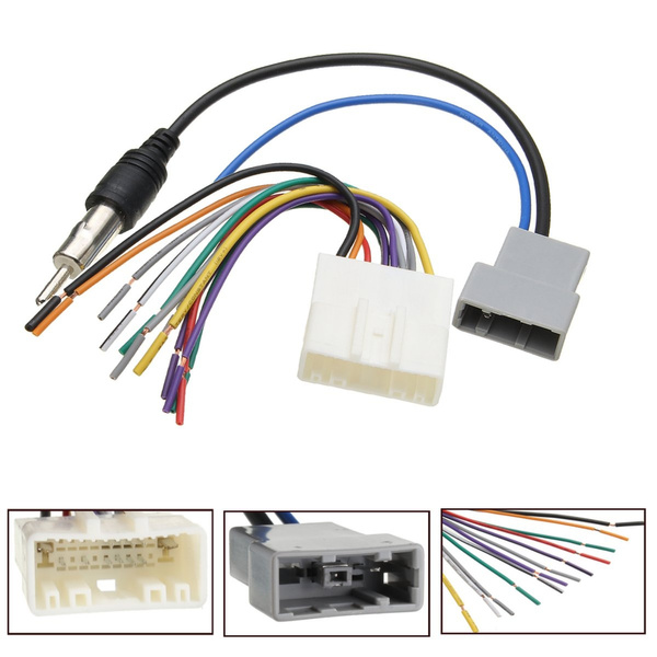 2Pcs Car DVD Radio Player Stereo Wire Harness Cable Plugs Antenna Adapter Nissan Stereo Wiring Harness Adapter on