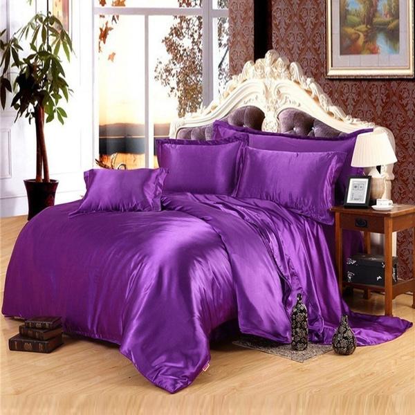 Wish | 2/3PCS Popular Silk Damask Bed Linen Duvet Cover Jacquard Bedsheet  Sets Luxury Silk Bedding Set King Size (Size: King)