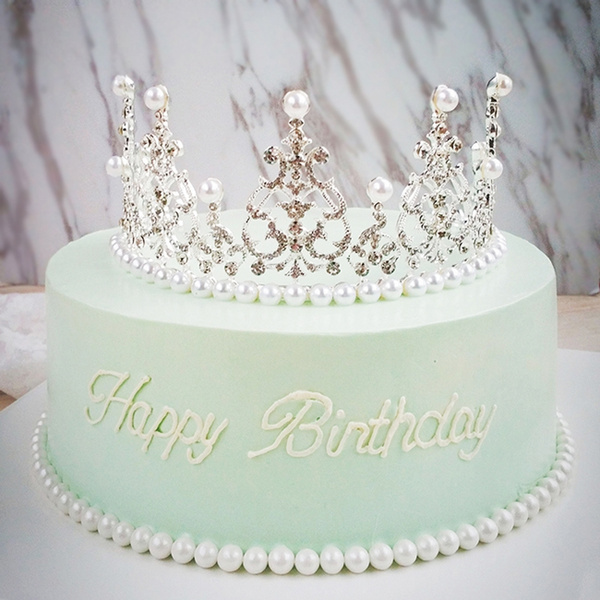 Superb Crystal Diamonds Pearl Crown Cake Toppers Wedding Christening Funny Birthday Cards Online Inifofree Goldxyz
