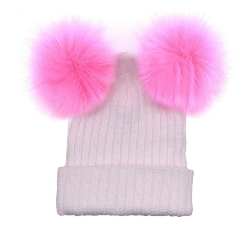 Women Knitted Faux Fur Cap Beanie Hat Winter Warm Double Pom Ball ... a9f6563b212f