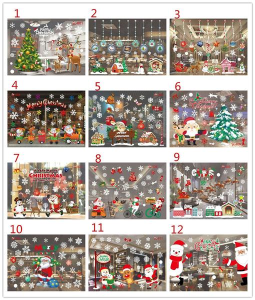 Christmas, Wall, Santa Claus, Stickers